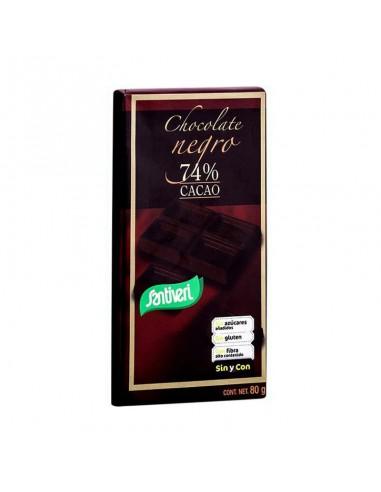CHOCOLATE NEGRO 74% CACAO 80G -Santiveri